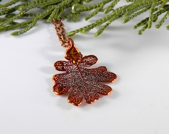 Small Copper Dipped Oak Leaf Pendant on 20 inch Chain, Gift for Mom, Symbol of Strength and Courage