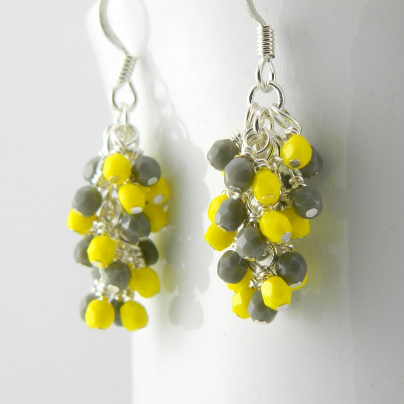 Yellow and Gray Cascade Earrings Yellow and Grey image 0