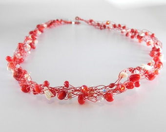 Red Coral & Mother of Pearl Wire Crochet Necklace, Christmas gifts for Mom