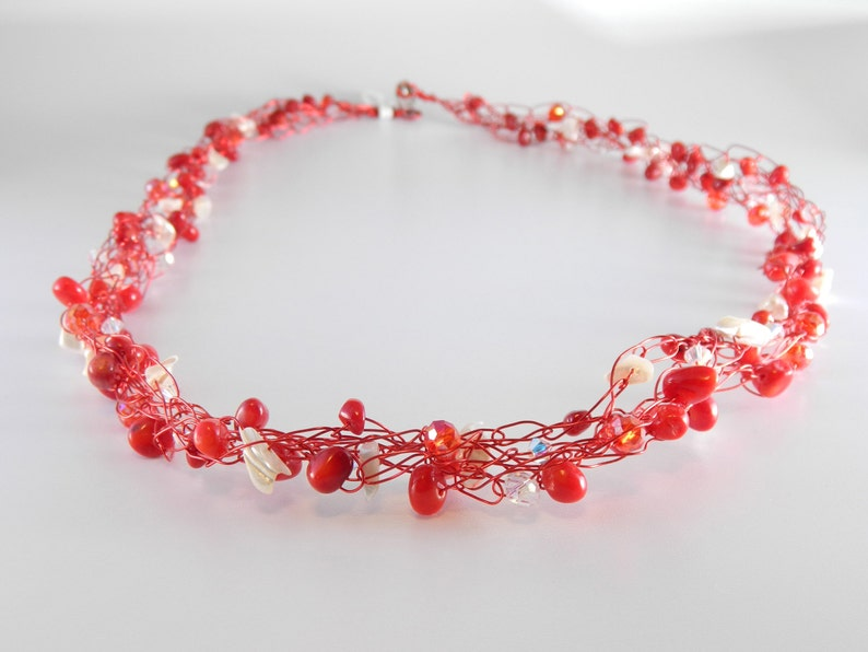 Red Coral & Mother of Pearl Wire Crochet Necklace Christmas image 0