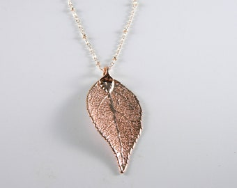 Rose Gold Dipped Laurel Leaf on 30 inch chain Necklace, Symbol of Achievement, Satellite Chain Necklace