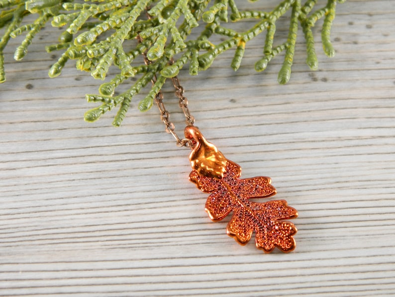 Little Oak Leaf Copper Plated Oak Leaf Pendant on 18 inch image 0