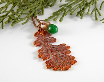 Copper Plated Oak Leaf and Acorn Necklace, Electroformed Leaf Necklace, Oak and Acorn Jewelry