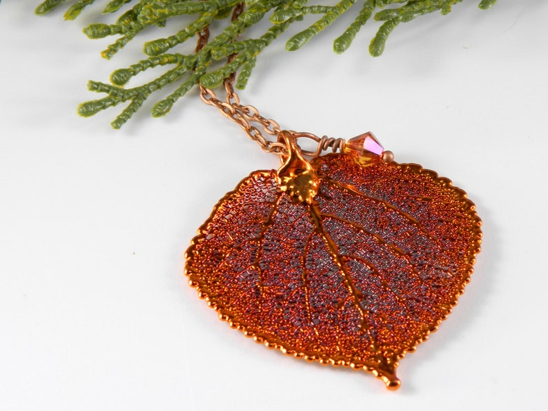 Copper  Aspen Leaf Pendant on 30 inch Long Chain Gift for image 0