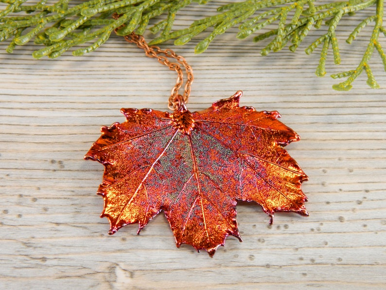 Copper Maple Leaf Necklace 20 inch Necklace Real Leaf image 0