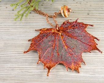 Electroformed Maple Leaf Pendant, 30 inch chain, Nature Necklace, Copper Real Leaf Pendant