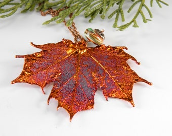 Maple Leaf Pendant on 30 inch Long Chain, Iridescent Copper Electroplated Real Leaf Necklace, Gift for Gardener