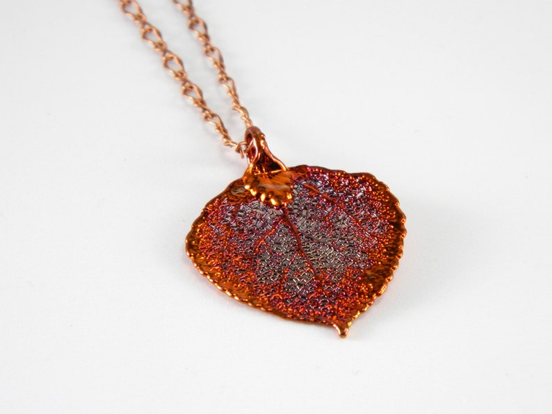 Copper Aspen Leaf Pendant on 18 inch Chain Gift for Her image 0