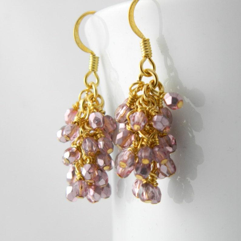 Light Pink  Metallic Cascade Earrings with Surgical Steel Ear image 0