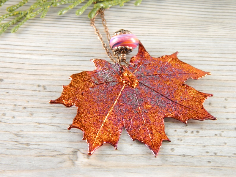 Iridescent Copper Plated Real Maple Leaf Pendant 20 inch image 0