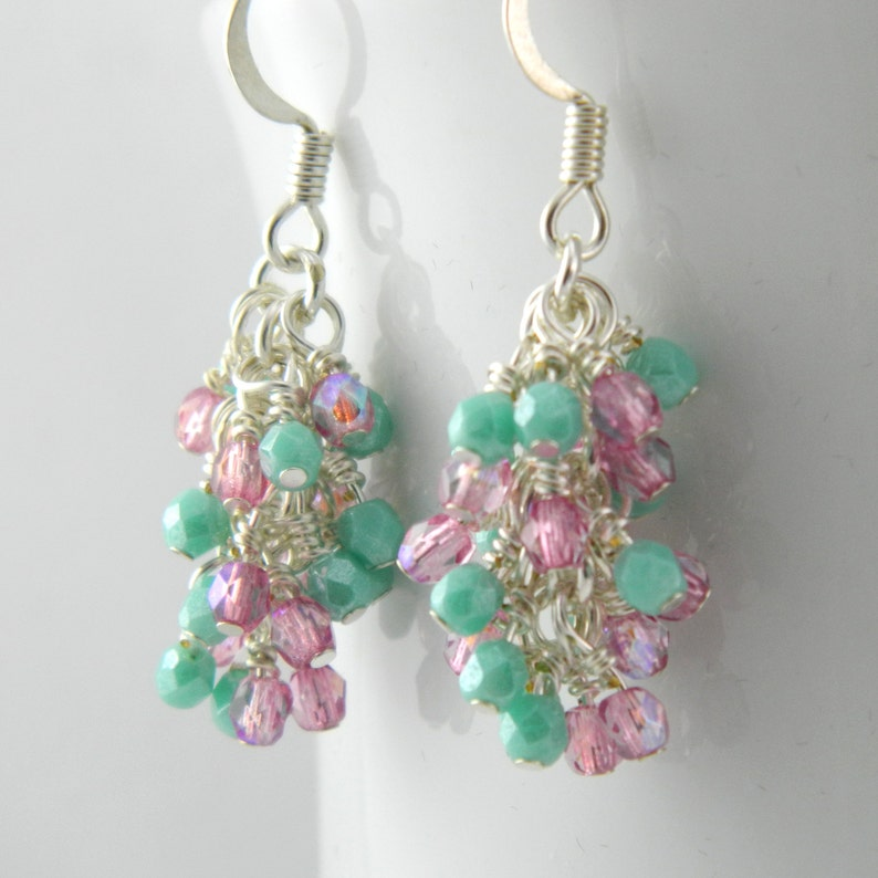 Pink and Green Dangle Earrings with Sterling or Steel Ear image 0