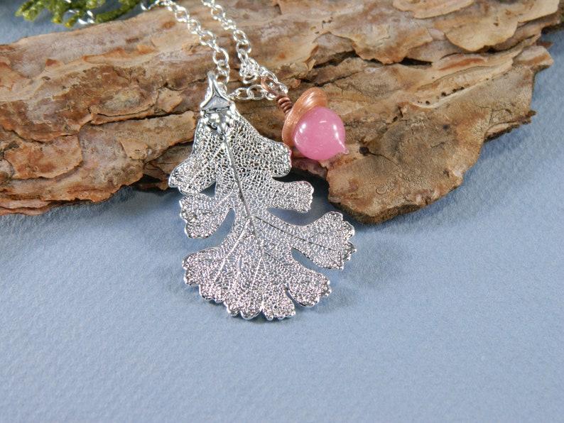 Silver Oak Leaf Necklace with Pink Acorn Real Oak Leaf image 0
