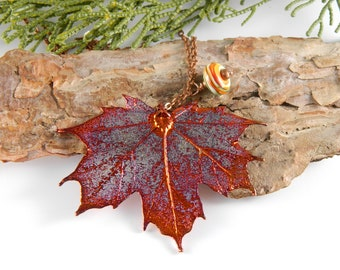 Preserved  Leaf Pendant on 36 inch Long Chain, Copper Maple Leaf Necklace, Autumn Leaf, Christmas Gifts for Sister