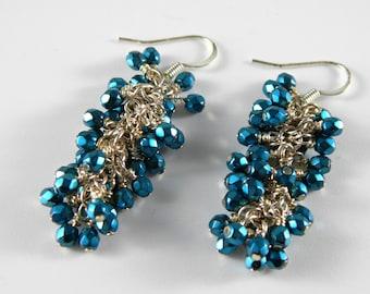 Metallic Teal Blue Cluster Dangle Earrings in Silver, Blue Dangle Earrings