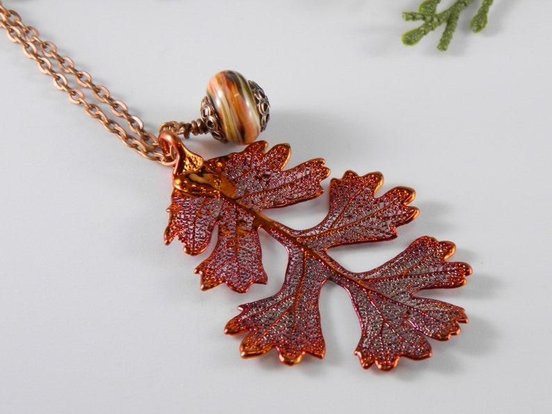 Copper Oak Leaf Pendant on 32 inch Long Chain Real Leaf image 0