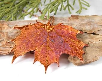 Preserved Maple Leaf Pendant on 32 inch Long Chain, Copper Leaf Necklace, Autumn Leaf, Gardener Gift