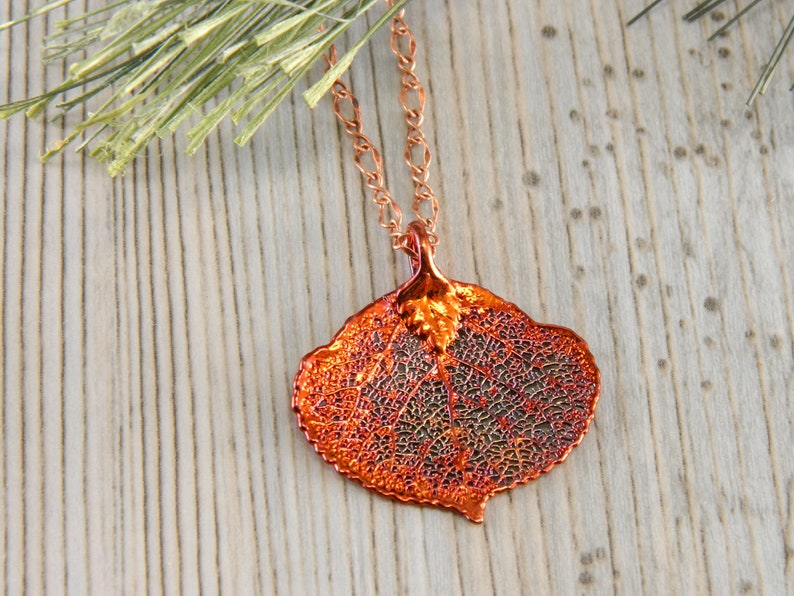 Copper Dipped Aspen Leaf Necklace Real Leaf Necklace Small image 0
