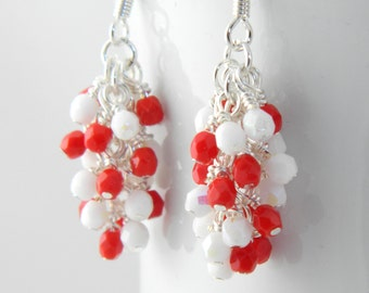 Red and White Cluster Dangle Earrings, Valentines Earrings, White and Red Earrings