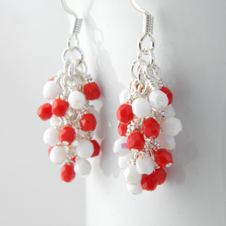 Red and White Cluster Dangle Earrings Valentines Earrings image 0
