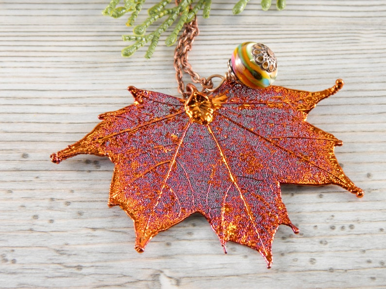 Long Necklace with Copper Dipped Real Maple Leaf Pendant Gift image 0