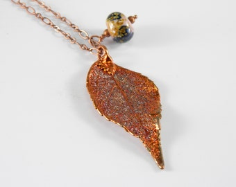 Copper Plated Real Laurel Leaf Necklace, Preserved Leaf Pendant, Autumn Leaf, Symbol of Special Achievement