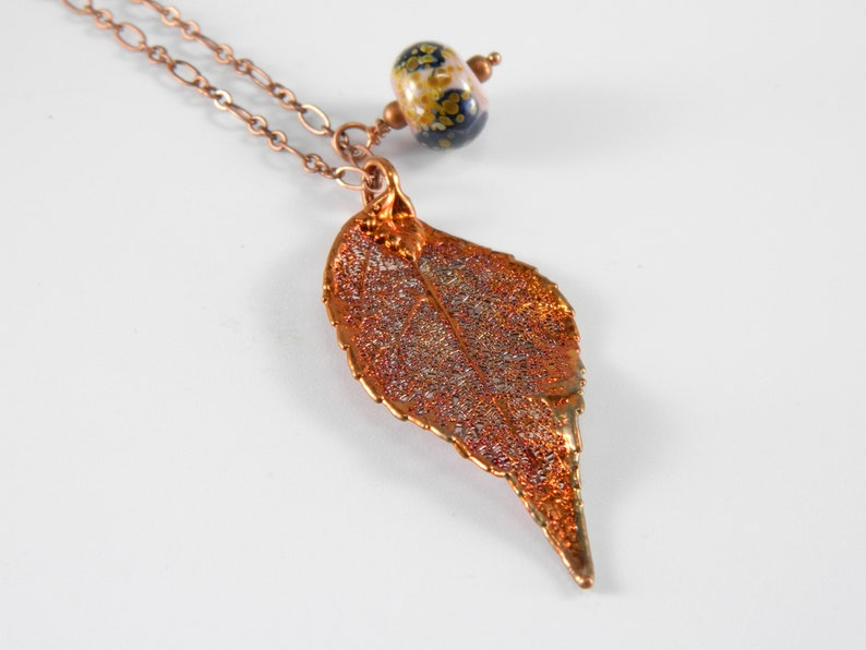 Copper Plated Real Laurel Leaf Necklace Preserved Leaf image 0
