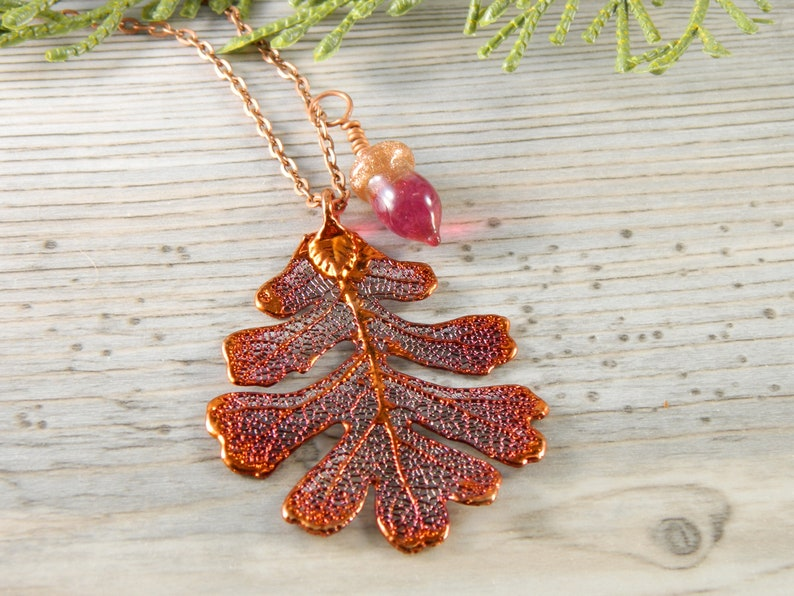 Copper Oak Leaf Necklace with Pink Glass Acorn Gift for Her image 0