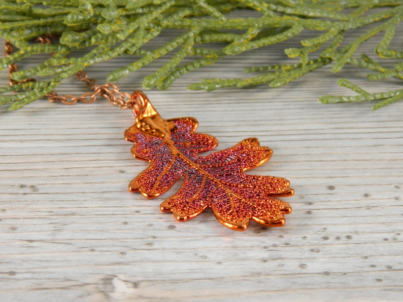 Copper Oak Leaf Necklace with 18 inch Chain Gift for Green image 0