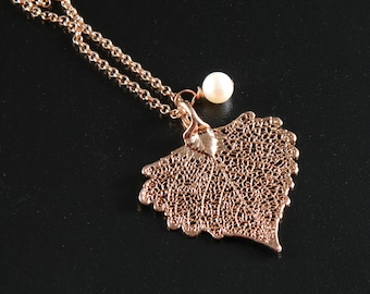 Small Rose Gold Plated Cottonwood Leaf on 20 inch chain, Heart Pendant Necklace, Real Leaf Jewelry