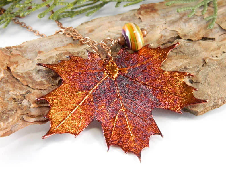Long Maple Leaf Necklace Copper Dipped Real Maple Leaf image 0