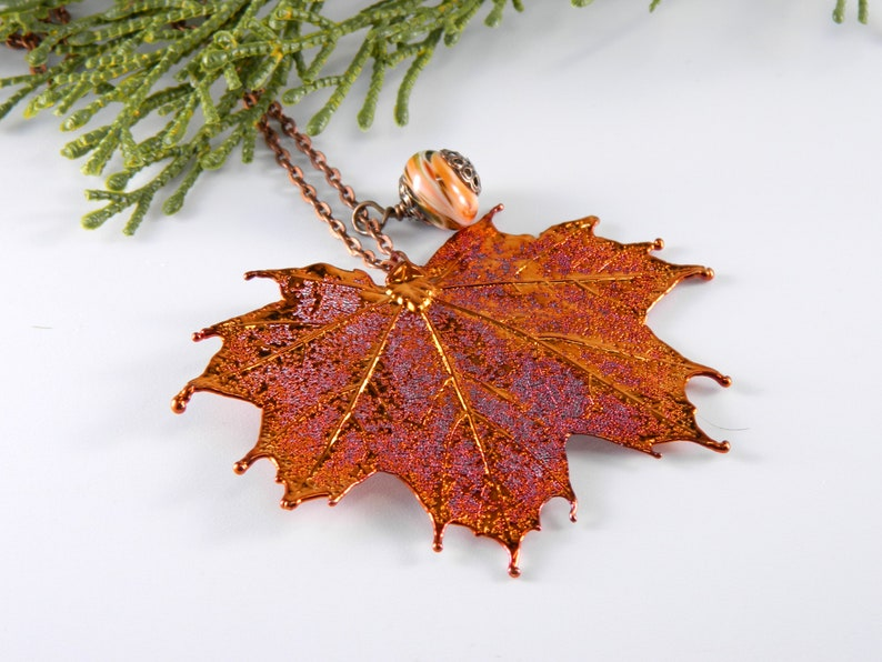 Copper Dipped Maple Leaf Pendant Necklace 30 inch long chain image 0