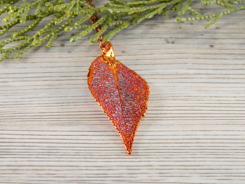 Copper Laurel Leaf Necklace with 34 inch Long Chain Symbol of image 0