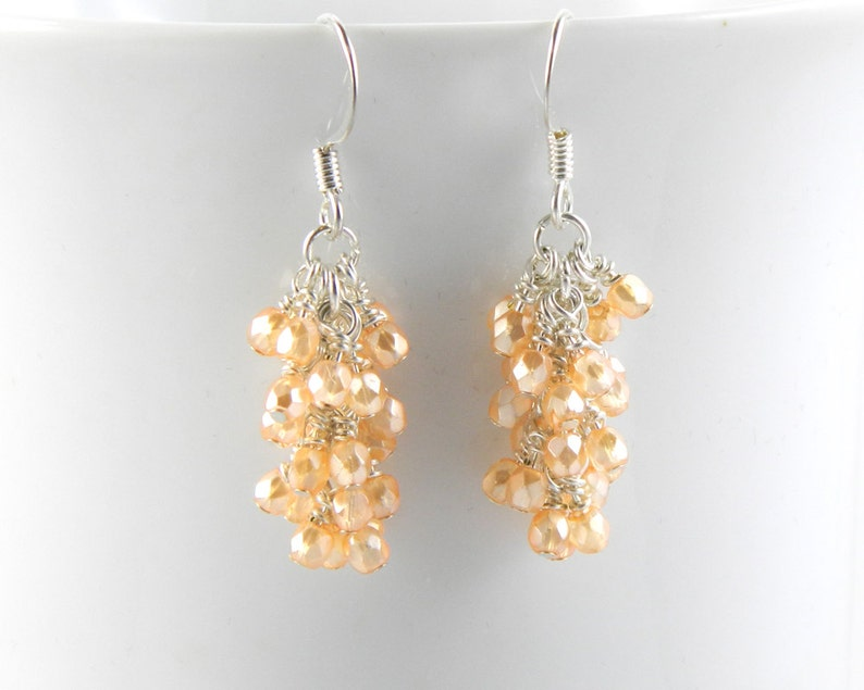 Pearl Light Orange Cluster Dangle Earrings on Surgical Steel image 0