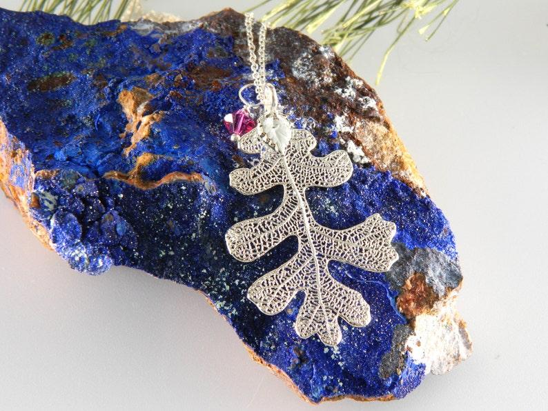 Silver Oak Leaf Necklace with Real Leaf Pendant 18 inch image 0