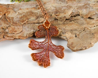 Copper Oak Leaf Pendant on 30 inch Long Chain, Real Leaf Necklace, Inspired by Nature, Symbol of Strength and Courage
