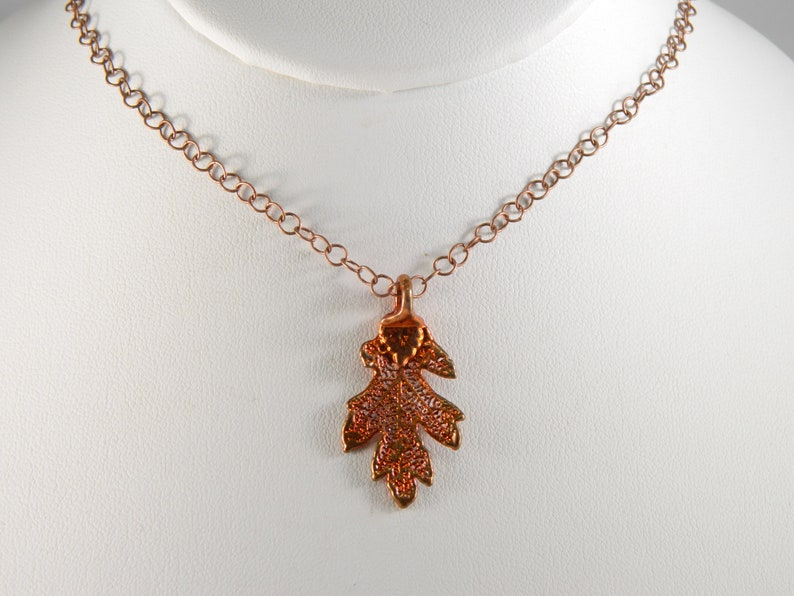 Little Copper Oak Leaf Pendant on 20 inch Chain Real Dipped image 0