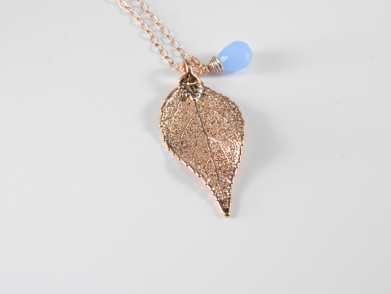 Rose Gold Laurel Leaf Necklace on 16 inch chain Chalcedony image 0