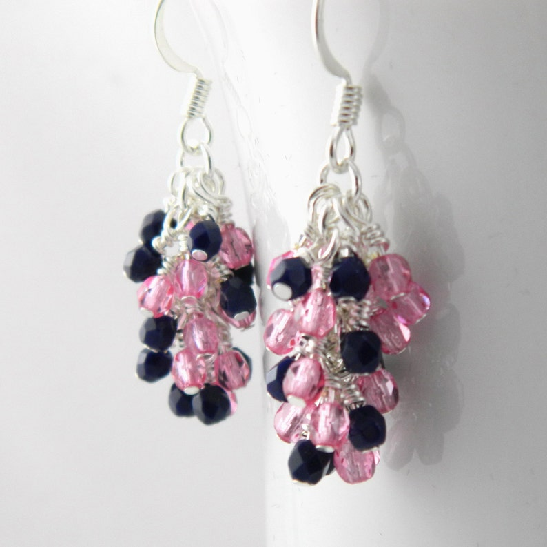 Rose Pink and Navy Blue Dangle Earrings with Sterling or Steel image 0