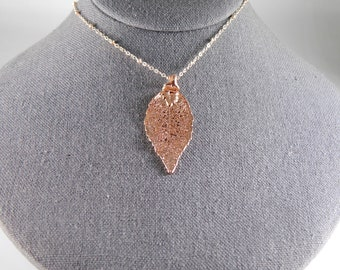 Electroformed Rose Gold Laurel Leaf on 20 inch chain, Real Leaf Jewelry, Gift for Women