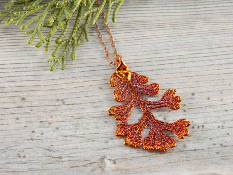 Iridescent Copper Oak Leaf Pendant on 20 inch Copper Chain image 0