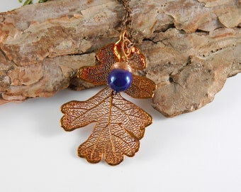 Electroformed Copper Oak Leaf Necklace with Purple Glass Acorn, Gift for Her