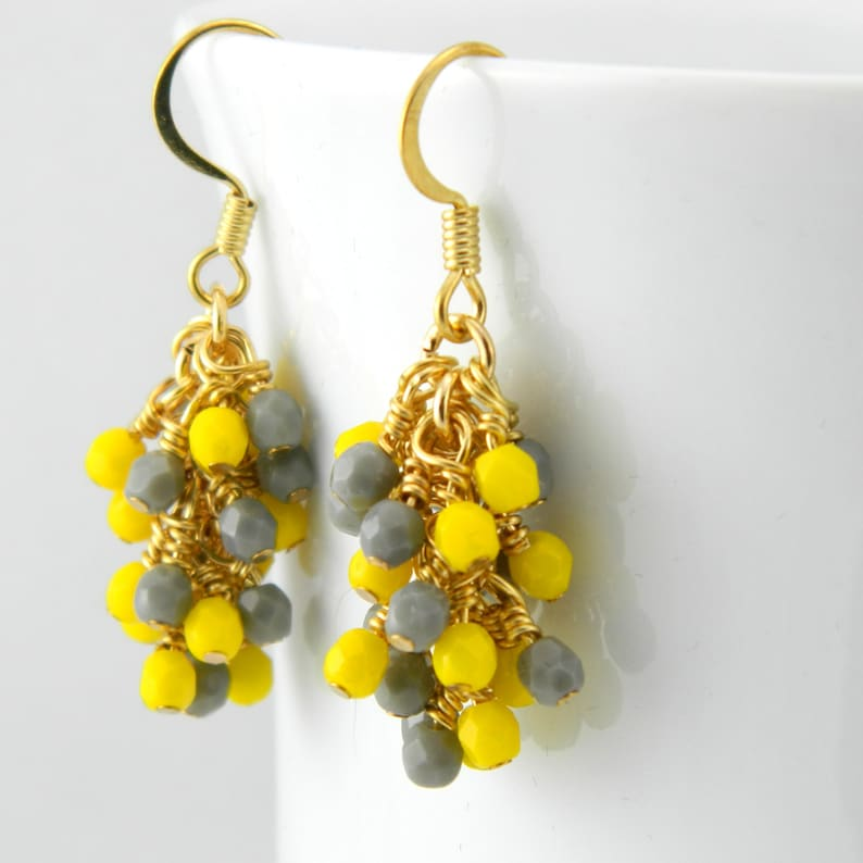 Gold Cascade Earrings in Yellow and Gray Yellow and Grey image 0