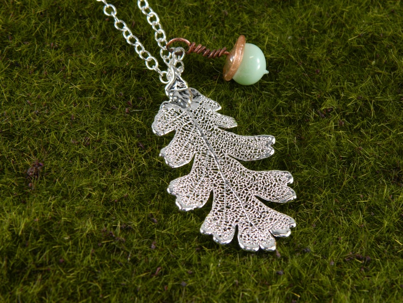 Silver Oak Leaf and Acorn Necklace  Elven Necklace 30 inch image 0