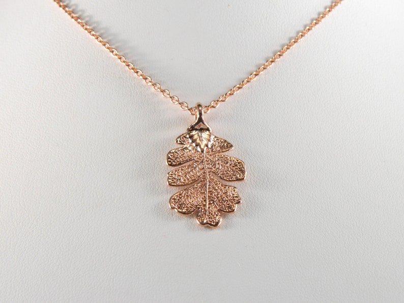 Small Rose Gold Oak Leaf Pendant on 18 inch Chain Necklace image 0