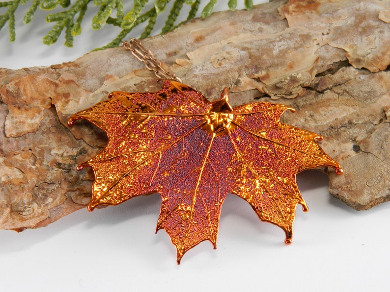 Real Maple Leaf Pendant 20 inch necklace Gift for Her image 0