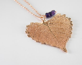 Rose Gold Cottonwood Leaf on 20 inch chain, Real Leaf Jewelry, Rose Gold Heart Necklace with Amethyst