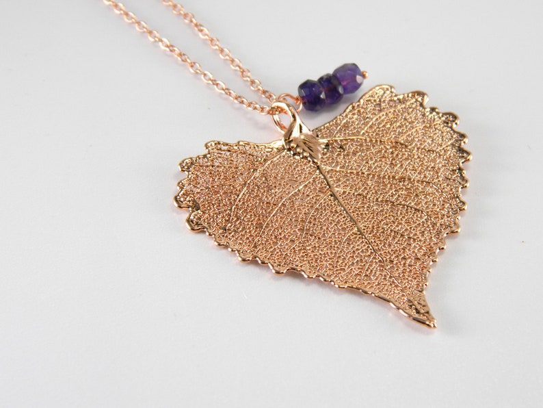 Rose Gold Cottonwood Leaf on 20 inch chain Real Leaf Jewelry image 0