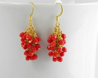 Red Cascading Glass Dangle Earrings in Gold, Red Dangle Earrings