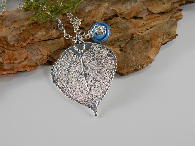 Silver Aspen Leaf Necklace with Blue Accent Goddess tree image 0