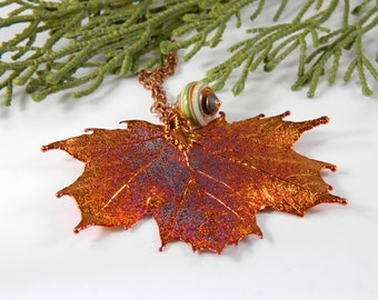 Iridescent Copper Electroplated Maple Leaf Pendant on 30 inch Long Chain, Real Leaf Necklace, Naturalist Gift